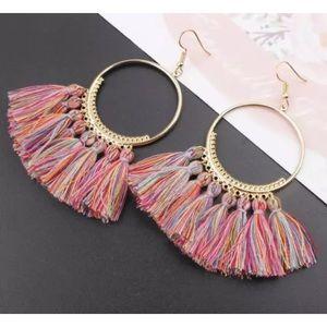 Jewelry - Rainbow fringe statement earrings